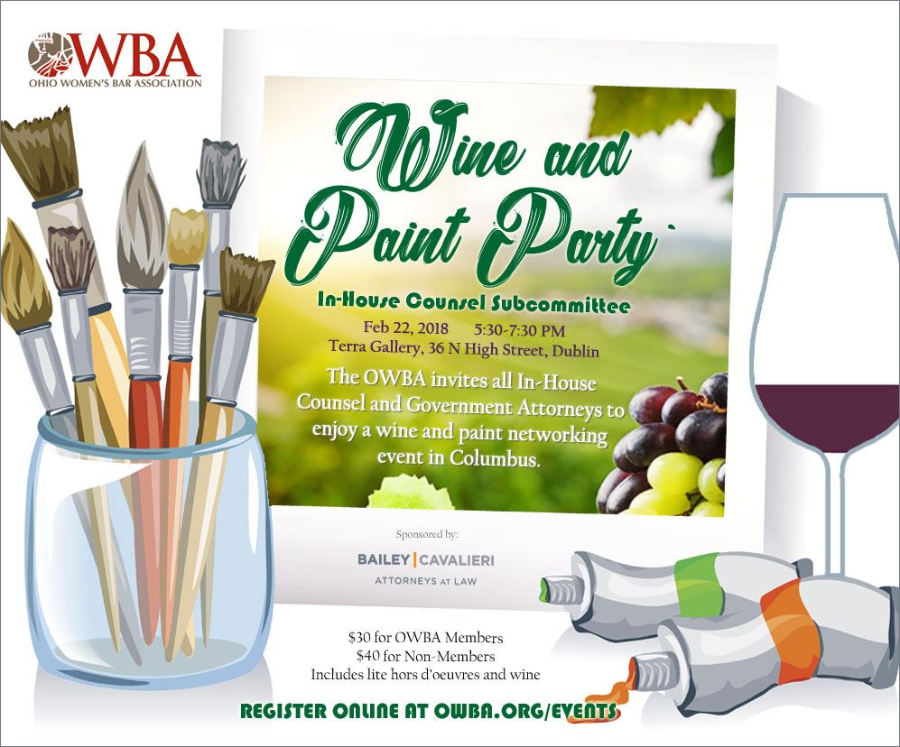 Ohio women 39 s bar association in house counsel for Wine paint party